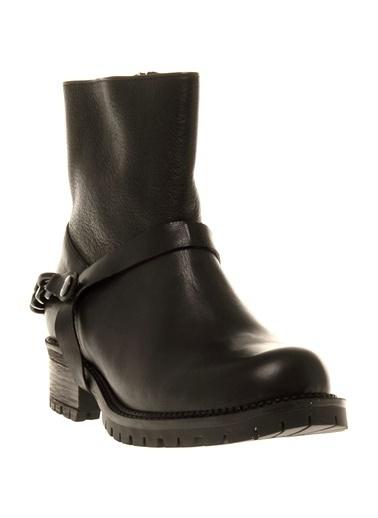 Cotton Bar Kalın Topuklu Uzun Bot Siyah